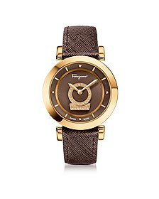 Minuetto Gold IP Stainless Steel Case and Brown Saffiano Leather Strap Women's Watch w/Diamonds - Salvatore Ferragamo