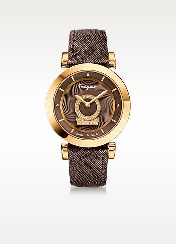 Minuetto Gold IP Stainless Steel Case and Brown Saffiano Leather Strap Women's Watch w/Diamonds - Salvatore Ferragamo