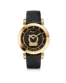Minuetto Gold IP Stainless Steel Case and Black Saffiano Leather Strap Women's Watch w/Black Guilloche' Dial - Salvatore Ferragamo
