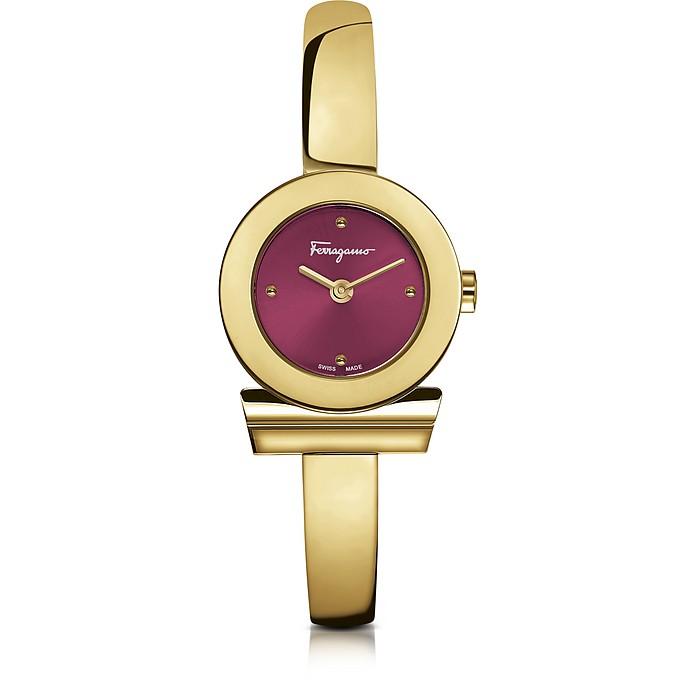 Gancino Gold IP Stainless Steel Women's Watch w/Burgundy Dial - Salvatore Ferragamo