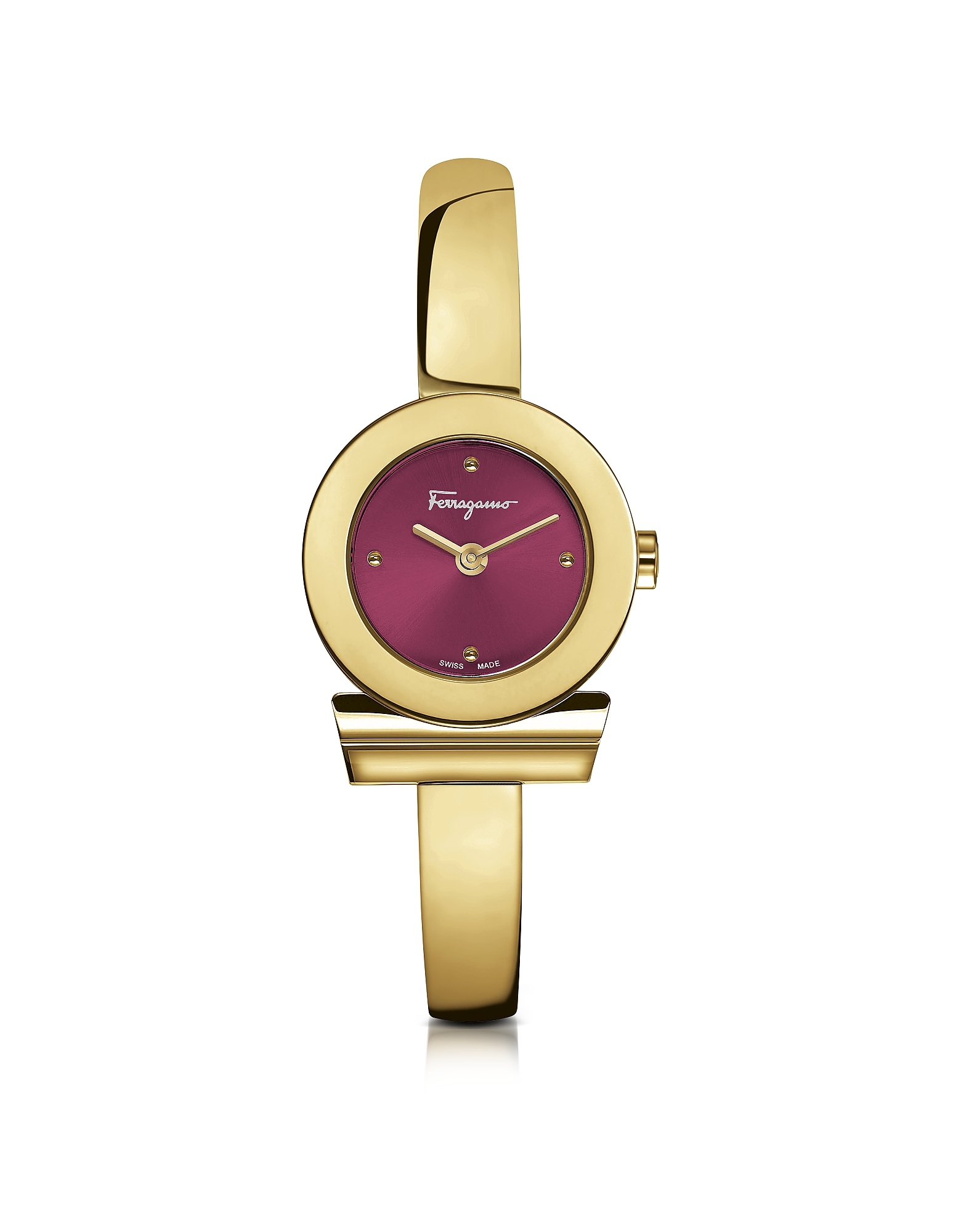Salvatore Ferragamo Women's Watches, Gancino Gold IP Stainless Steel Women's Watch w/Burgundy Dial
