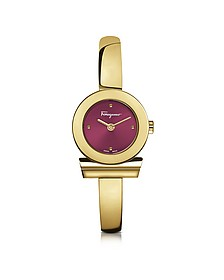 Gancino Gold IP Stainless Steel Women's Watch w/Burgundy Dial - Salvatore Ferragamo