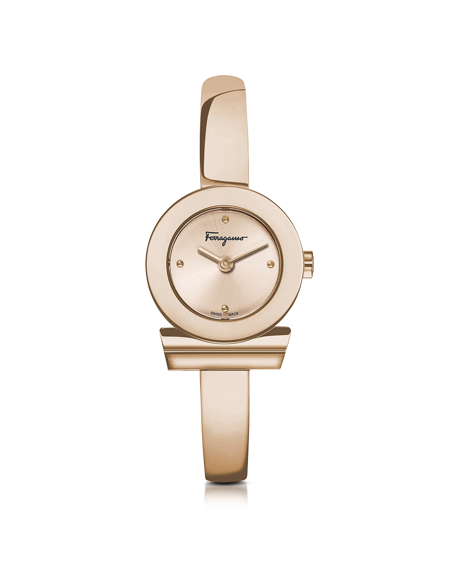 Salvatore Ferragamo Designer Women's Watches, Gancino Rose Gold IP Stainless Steel Women's Watch w/S