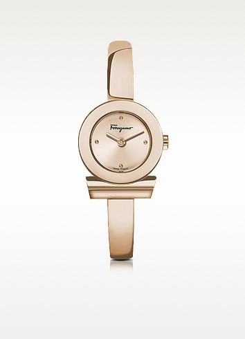 Gancino Rose Gold IP Stainless Steel Women's Watch w/Sunray Guilloche' Dial - Salvatore Ferragamo