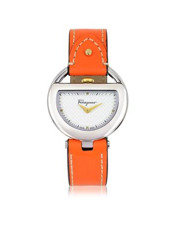 Buckle Collection Silver Tone Stainless Steel Case and Orange Leather Strap Women's Watch