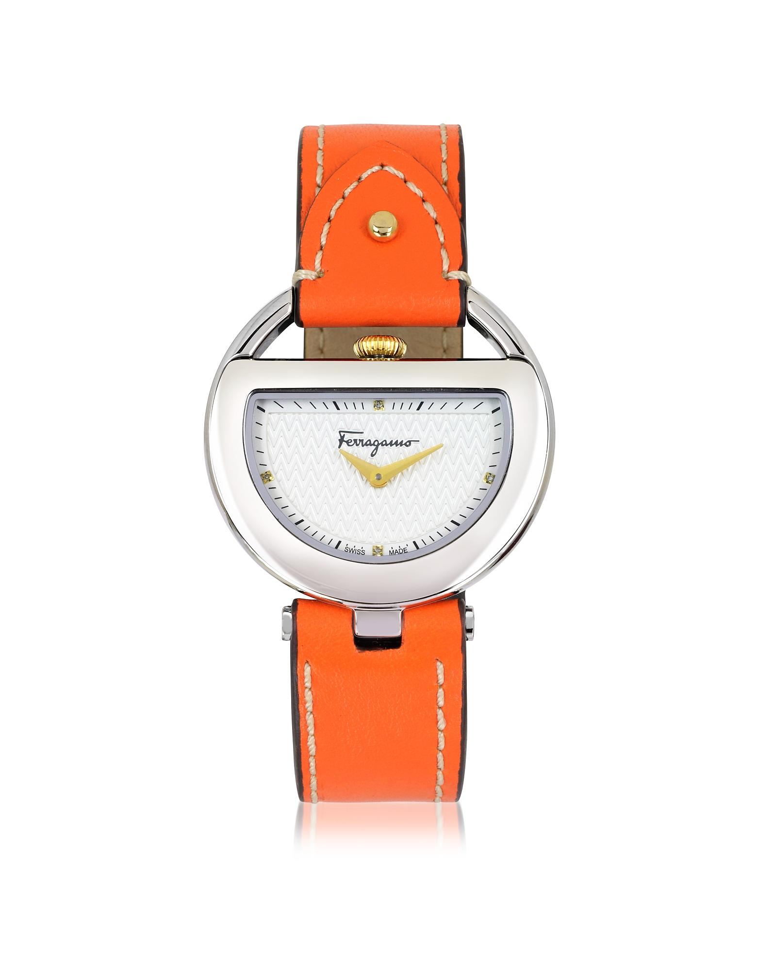 Salvatore Ferragamo Designer Women's Watches, Buckle Collection Silver Tone Stainless Steel Case and Orange Leather Strap Women's Watch