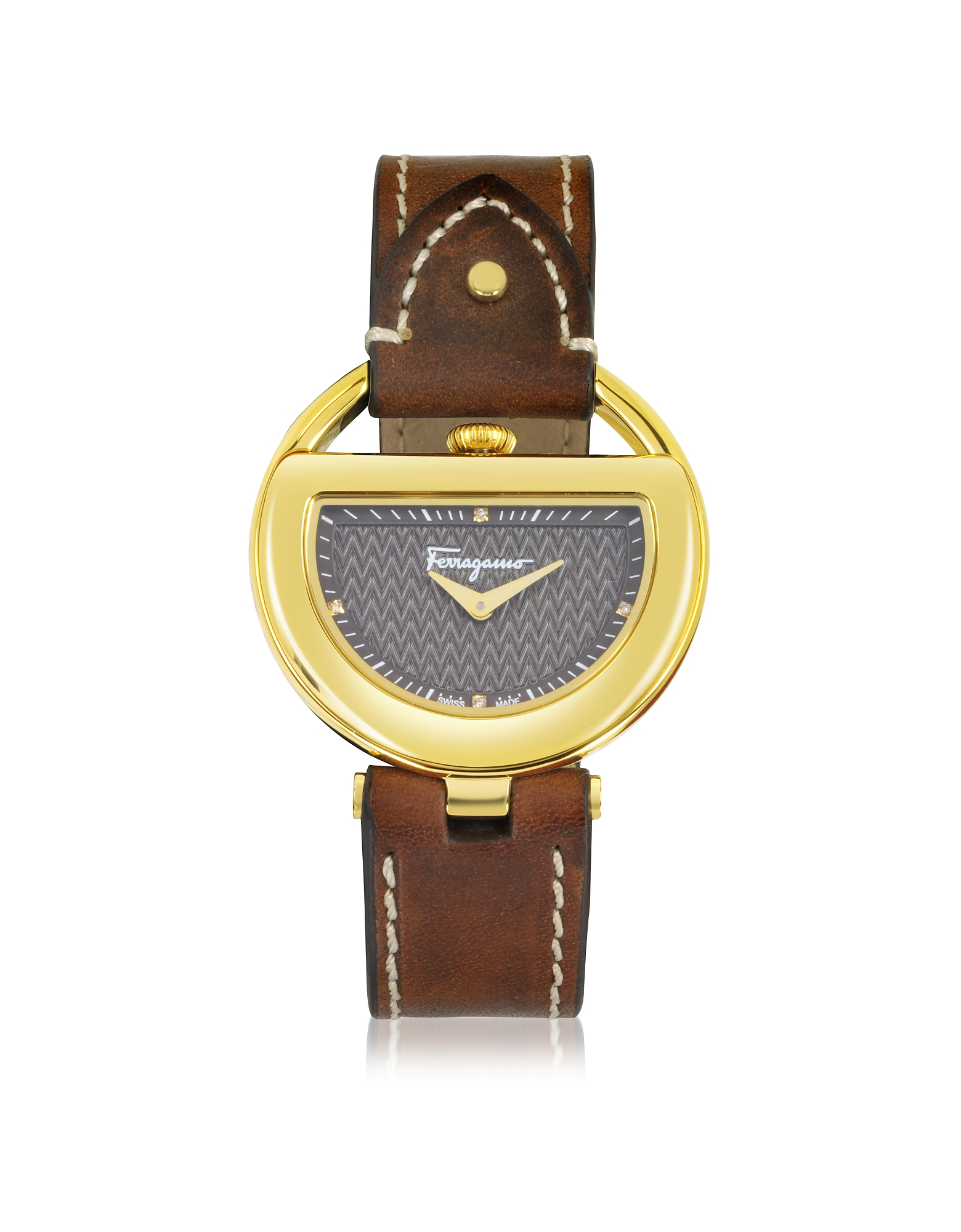 Salvatore Ferragamo Designer Women's Watches, Buckle Collection Gold IP Stainless Steel Case and Brown Leather Strap Women's Watch