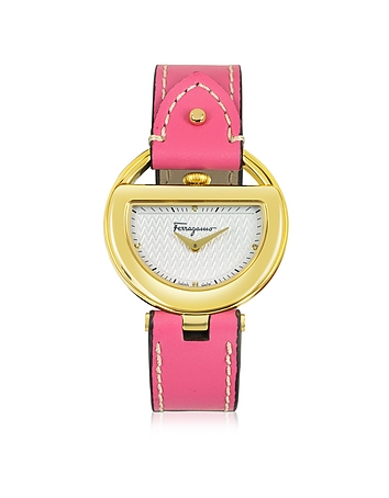 Salvatore Ferragamo - Buckle Collection Gold IP Stainless Steel Case and Fuchsia Leather Strap Women