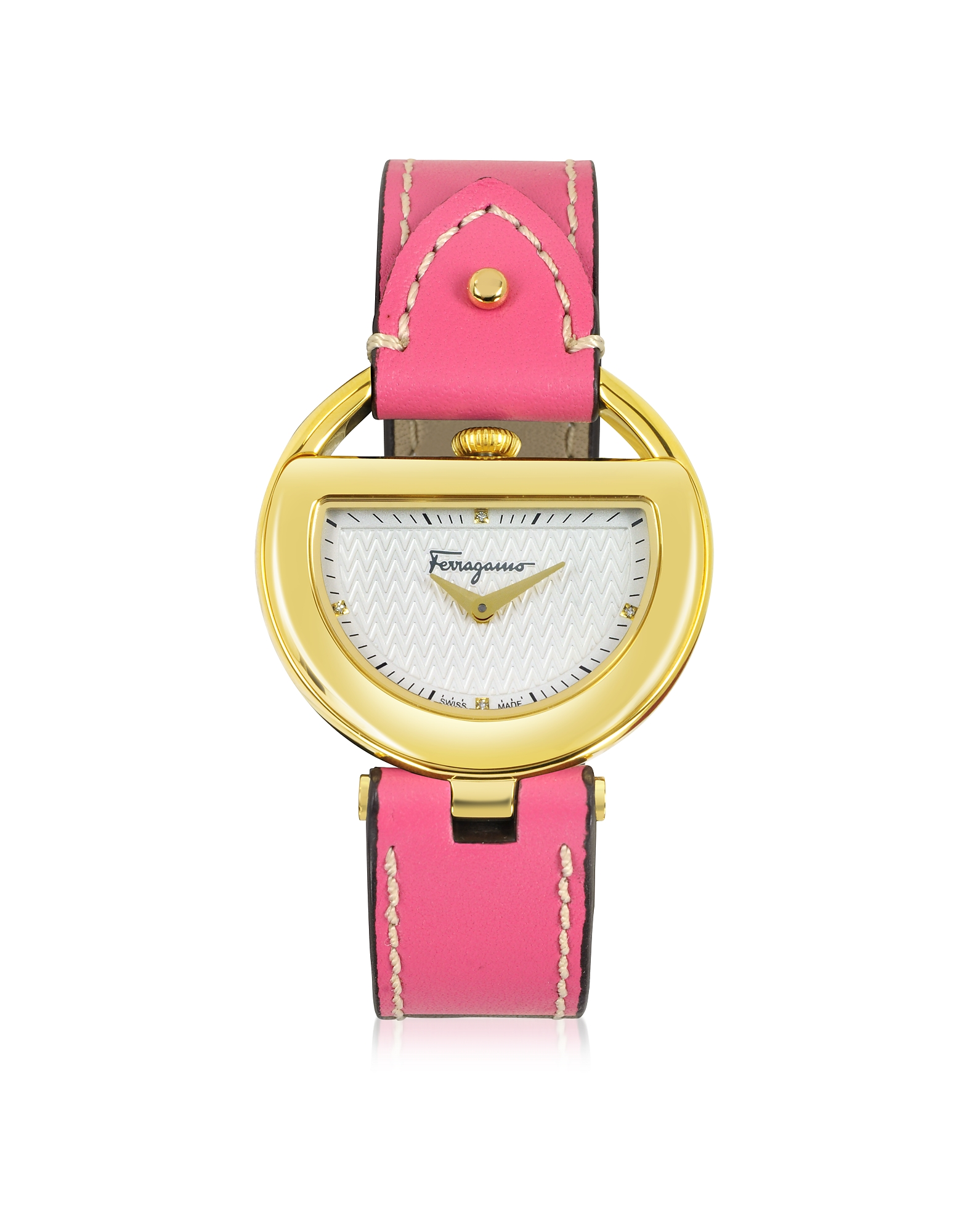 Salvatore Ferragamo  Women's Watches Buckle Collection Gold IP Stainless Steel Case and Fuchsia Leather Strap Women's Watch