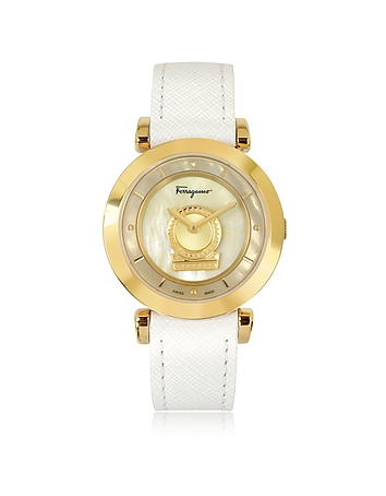 Salvatore Ferragamo - Minuetto Gold IP Stainless Steel Case and White Leather Strap Women's Watch