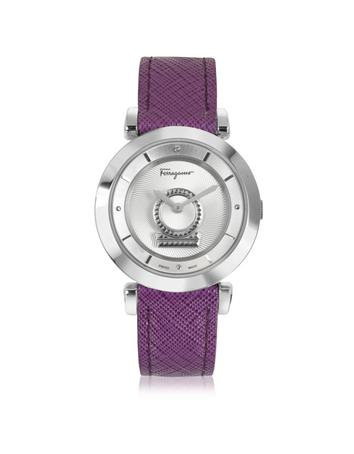 Minuetto Silver Tone Stainless Steel Case and Purple Leather Strap Women's Watch