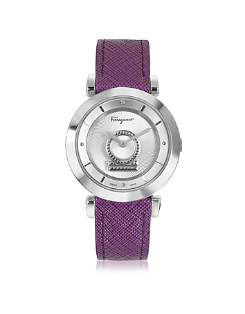 Salvatore Ferragamo - Minuetto Silver Tone Stainless Steel Case and Purple Leather Strap Women's Wat
