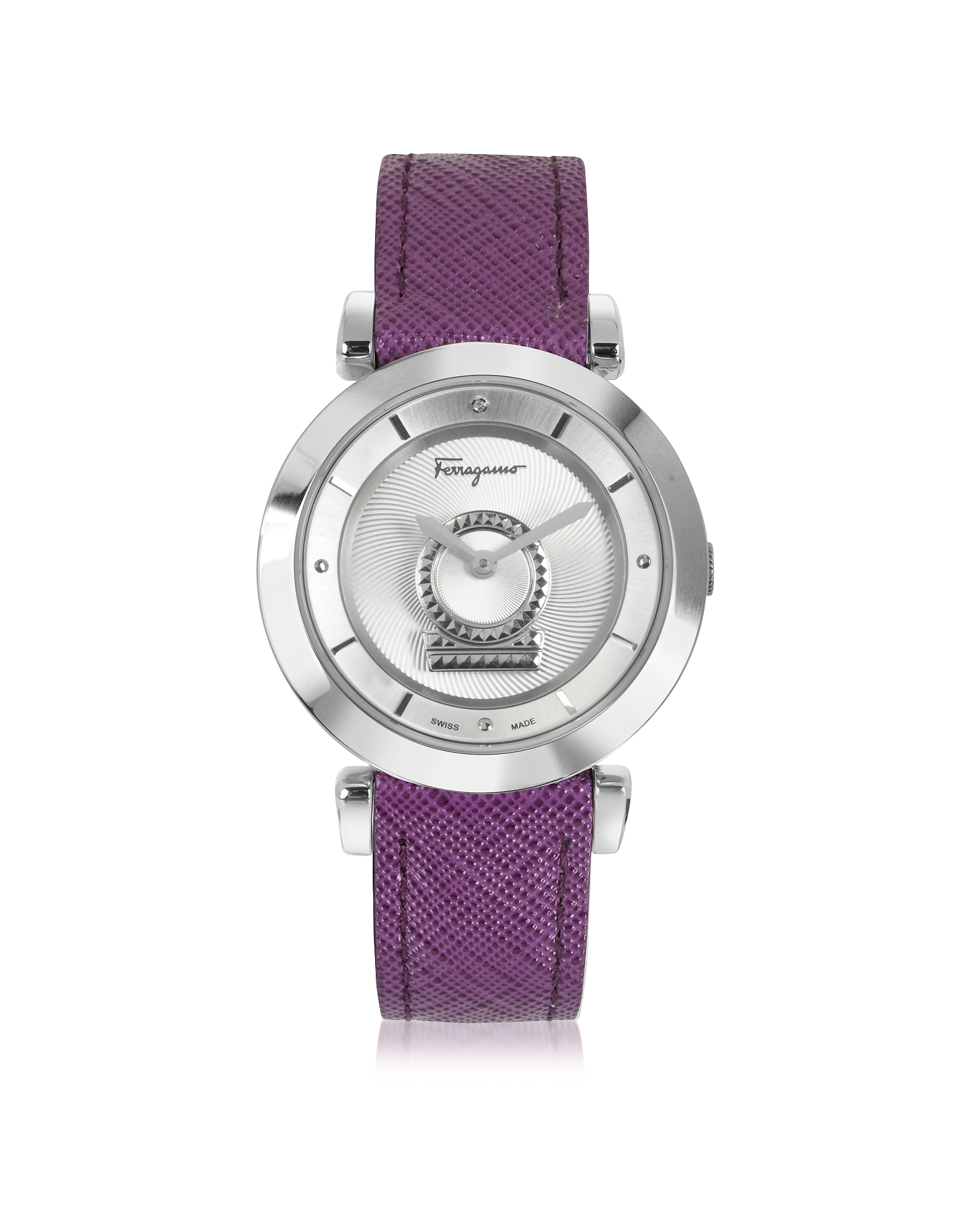 Salvatore Ferragamo Women's Watches, Minuetto Silver Tone Stainless Steel Case and Purple Leather St