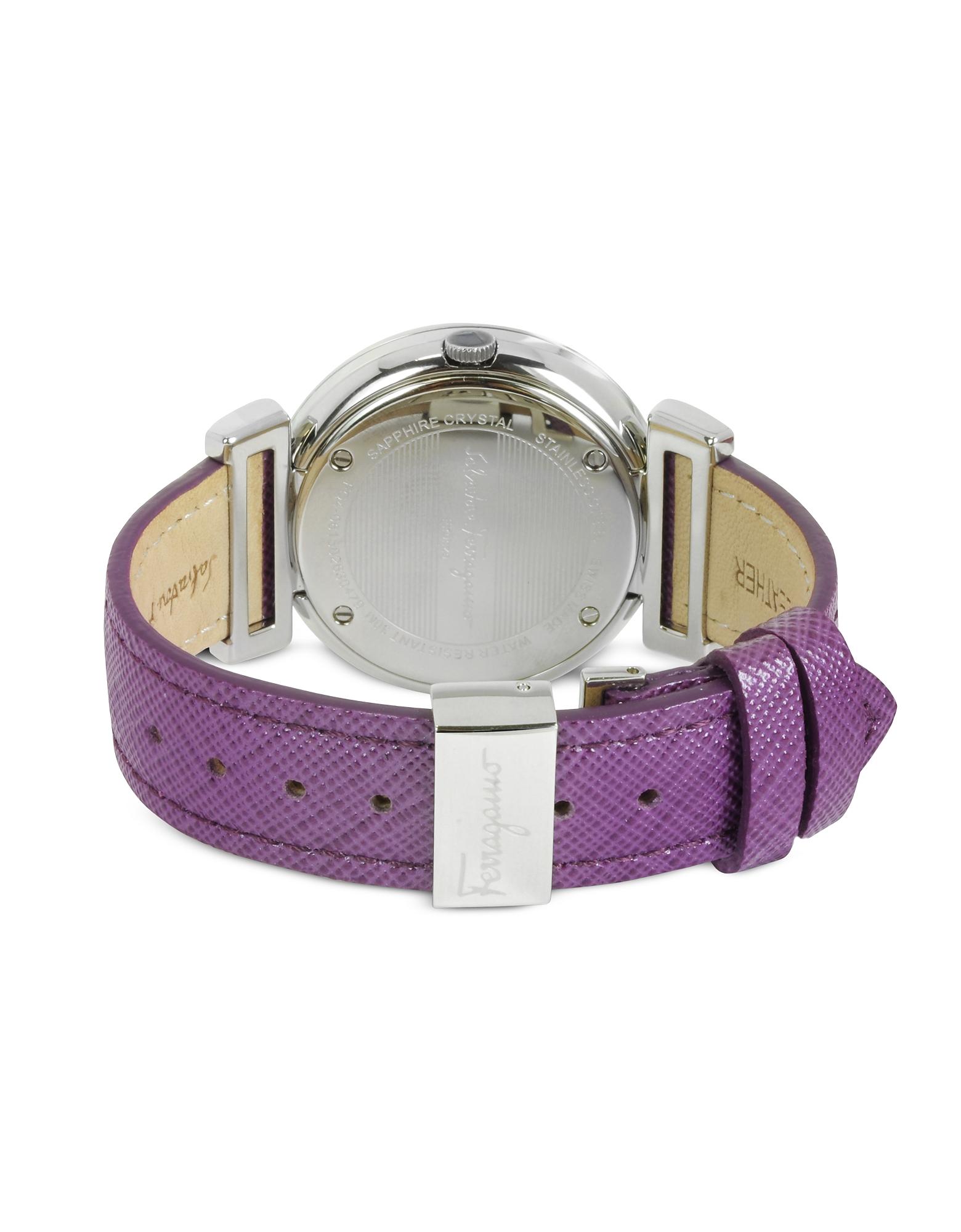 Фото Minuetto - Серебристые Женские Часы из Нержавеющей Стали с Фиолетовым Кожаным Ремешком. Купить с доставкой