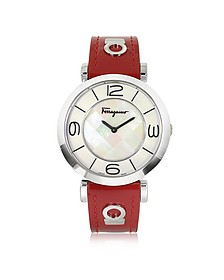 Gancino Deco Collection Silver Tone Stainless Steel Case and Leather Strap Women's Watch