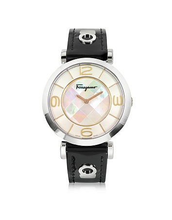 Salvatore Ferragamo - Gancino Deco Collection Silver Tone Stainless Steel Case and Leather Strap Wom