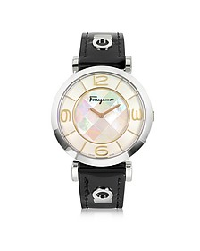 Gancino Deco Collection Silver Tone Stainless Steel Case and Leather Strap Women's Watch - Salvatore Ferragamo