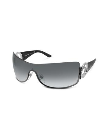 Salvatore Ferragamo Gancini Swarovski Crystal Shield Sunglasses