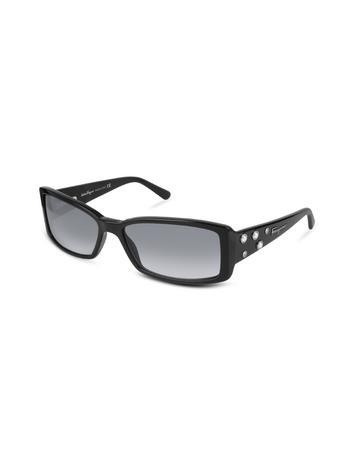 Salvatore Ferragamo Decorated Signature Rectangular Plastic Sunglasses