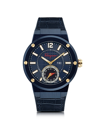 Salvatore Ferragamo - F-80 Motion Blue IP Stainless Steel Men's Watch w/Blue Croco Embossed and Blac