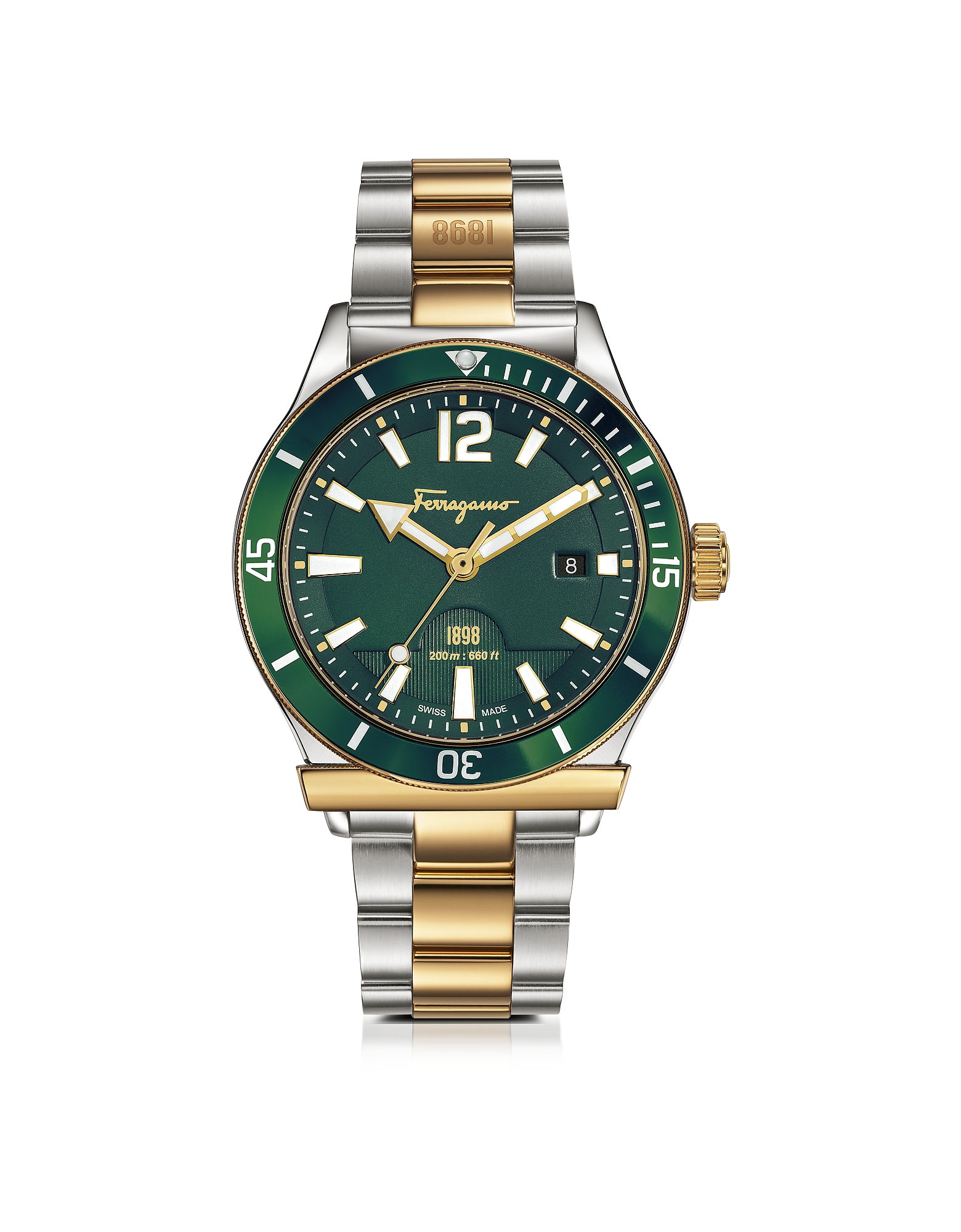Ferragamo 1898 Sport Gold IP and Stainless Steel Men's Bracelet Watch w/Green Aluminum Rotating Bezel. Ferragamo 1898 Sport Gold IP a