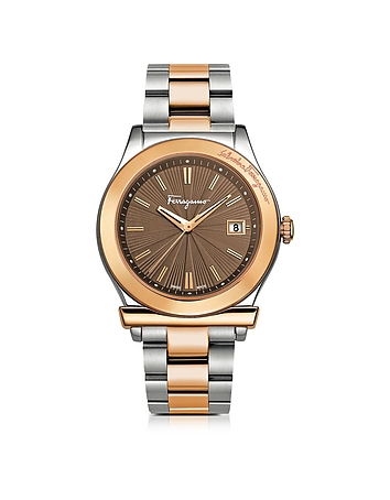 Salvatore Ferragamo - Ferragamo 1898 Sport Rose Gold IP and Stainless Steel Men's Bracelet Watch w/B
