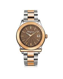 Ferragamo 1898 Sport Rose Gold IP and Stainless Steel Men's Bracelet Watch w/Brown Dial - Salvatore Ferragamo