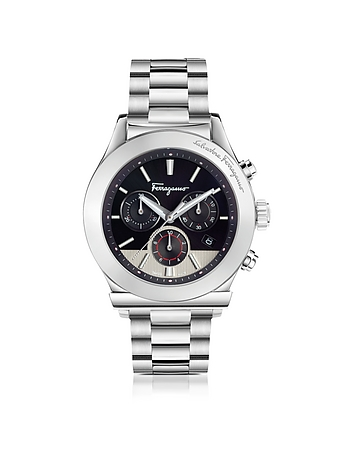 Salvatore Ferragamo - Ferragamo 1898 Silver Stainless Steel Men's Chronograph Watch w/Black Dial
