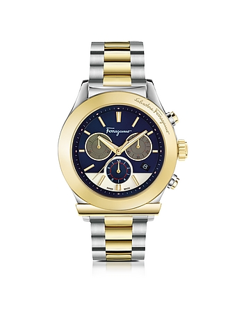 Salvatore Ferragamo - Ferragamo 1898 Stainless Steel and Gold IP Men's Chronograph Watch w/Blue Dial
