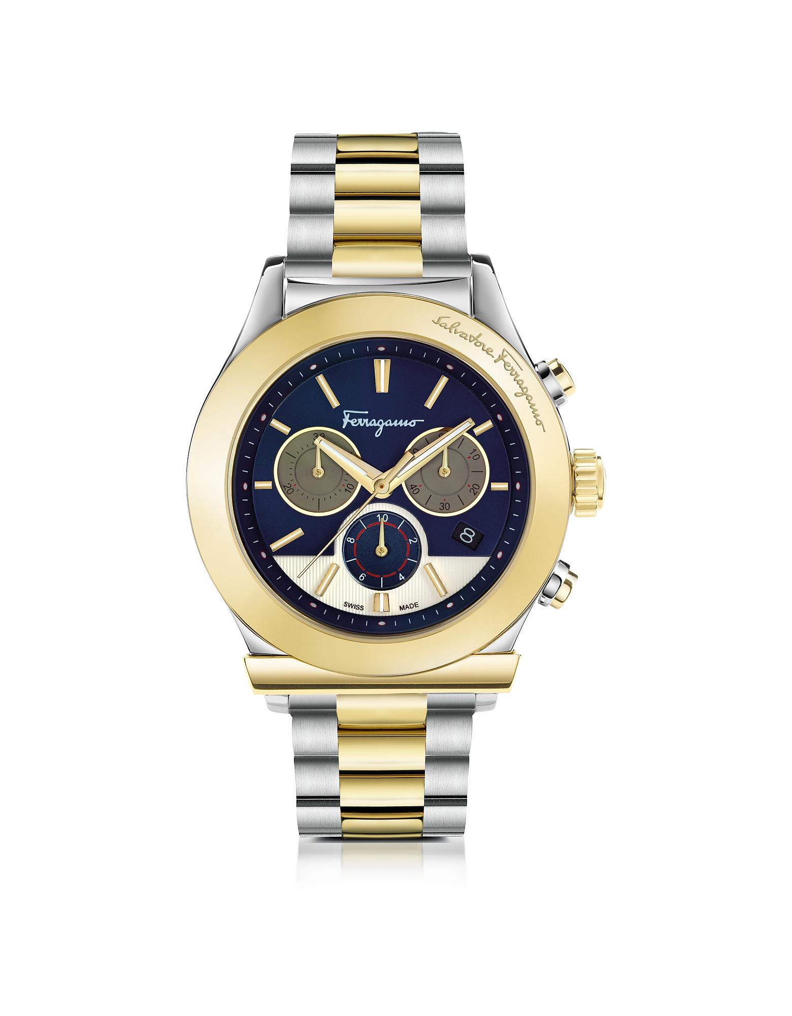 Salvatore Ferragamo Men's Watches, Ferragamo 1898 Stainless Steel and Gold IP Men's Chronograph Watc