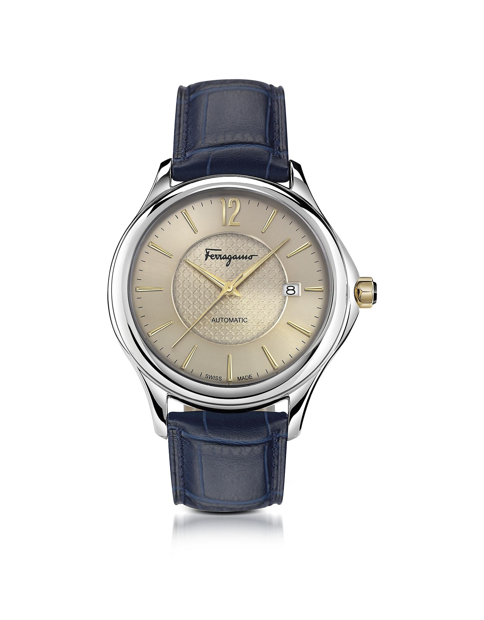 Фото Ferragamo Time - Серебристые Автоматические Мужские Часы на Синем Ремешке из Кожи под Крокодиловую. Купить с доставкой