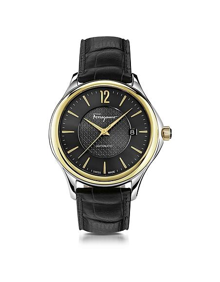 Salvatore Ferragamo Ferragamo Time Automatik-Herrenuhr aus Edelstahl in silber und Gold IP mit krokogeprägtem Armband in schwarz
