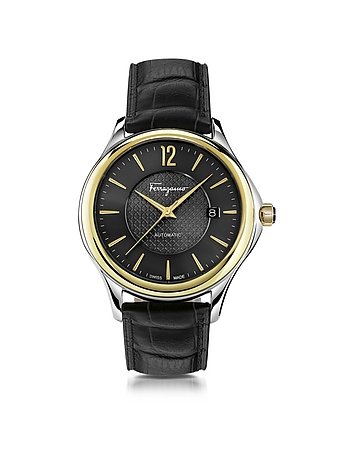 Salvatore Ferragamo - Ferragamo Time Silver Stainless Steel and Gold IP Men's Automatic Watch w/Blac