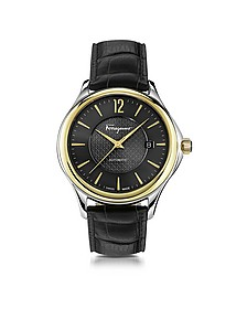 Ferragamo Time Stainless Steel and Gold IP Men's Automatic Watch w/Black Croco Embossed Strap - Salvatore Ferragamo