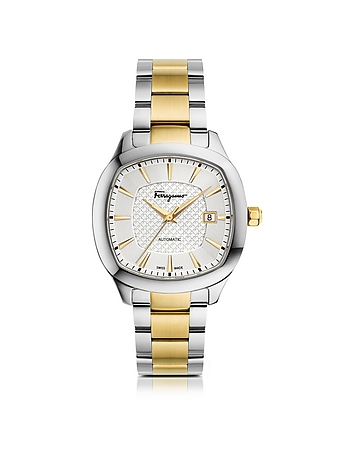 Salvatore Ferragamo - Ferragamo Time Silver Stainless Steel and Gold IP Men's Automatic Watch w/Silv