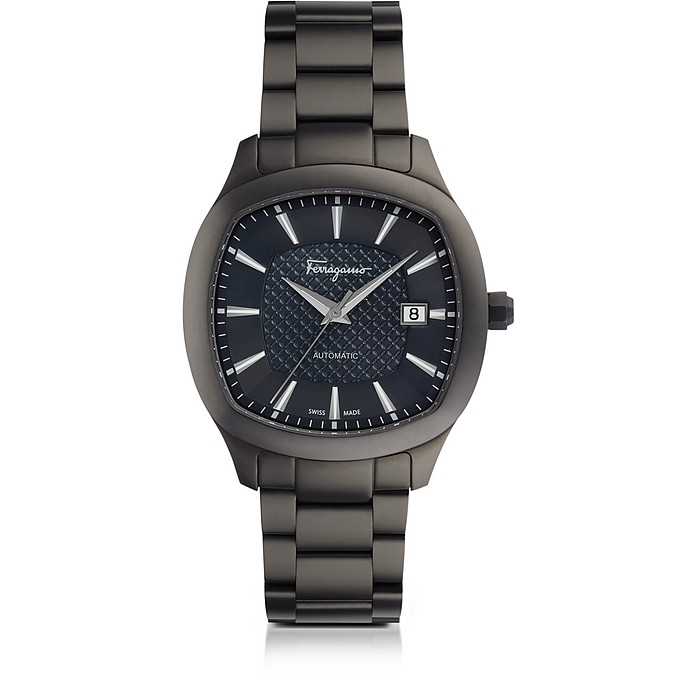 Salvatore Ferragamo Ferragamo Time Gun IP Stainless Steel Men's Automatic Watch w/Blue Guilloche' Dial