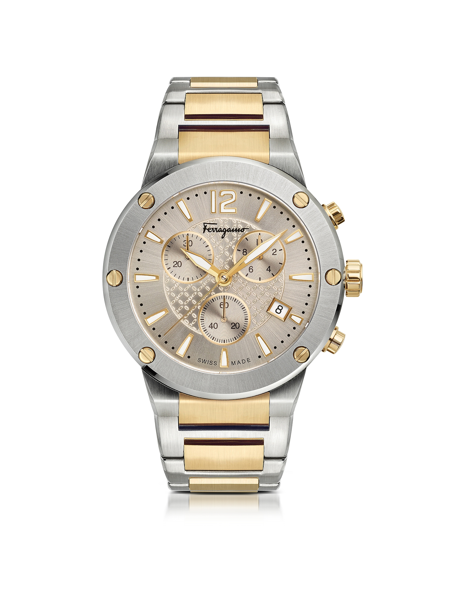 F-80 Silver Stainless Steel and Gold IP Men's Chronograph Watch w/Silver Guilloche' Dial