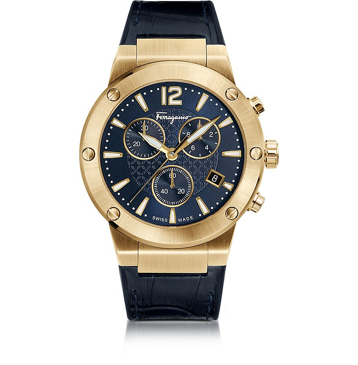 Salvatore Ferragamo F-80 Gold IP Stainless Steel Men's Chronograph Watch w/Blue Croco Embossed and Black Rubber Strap