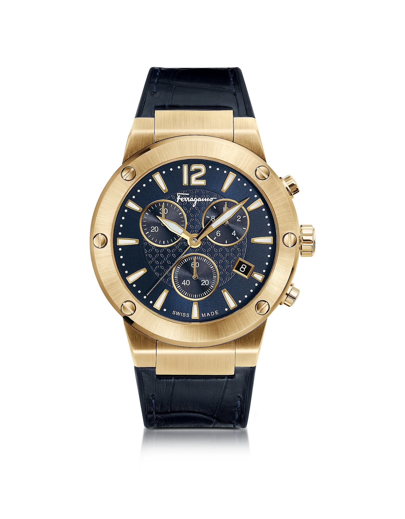 Salvatore Ferragamo Men's Watches, F-80 Gold IP Stainless Steel Men's Chronograph Watch w/Blue Croco