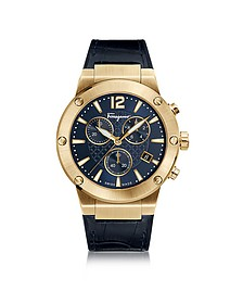 F-80 Gold IP Stainless Steel Men's Chronograph Watch w/Blue Croco Embossed and Black Rubber Strap - Salvatore Ferragamo