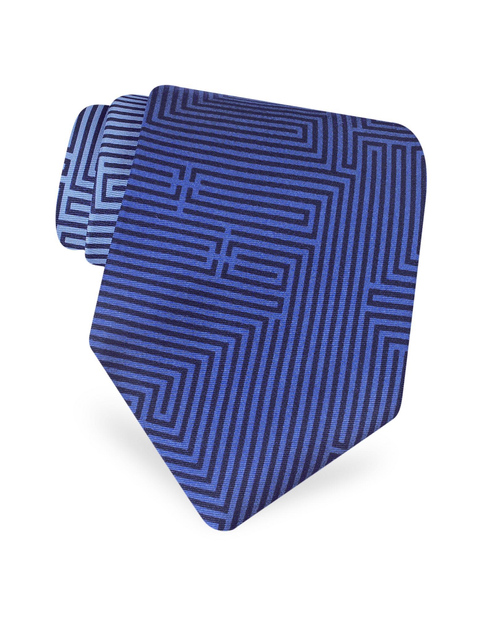 Fornasetti  Labirinto - Blue Geometric Lines Logoed Printed Silk Tie