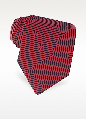 Labirinto - Red Geometric Lines Logoed Printed Silk Tie - Fornasetti
