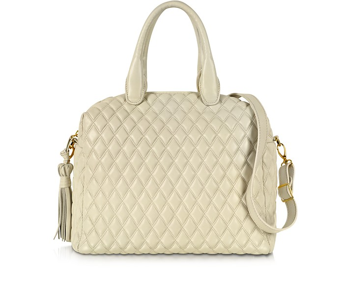 Ivory Quilted Leather Satchel - Fontanelli