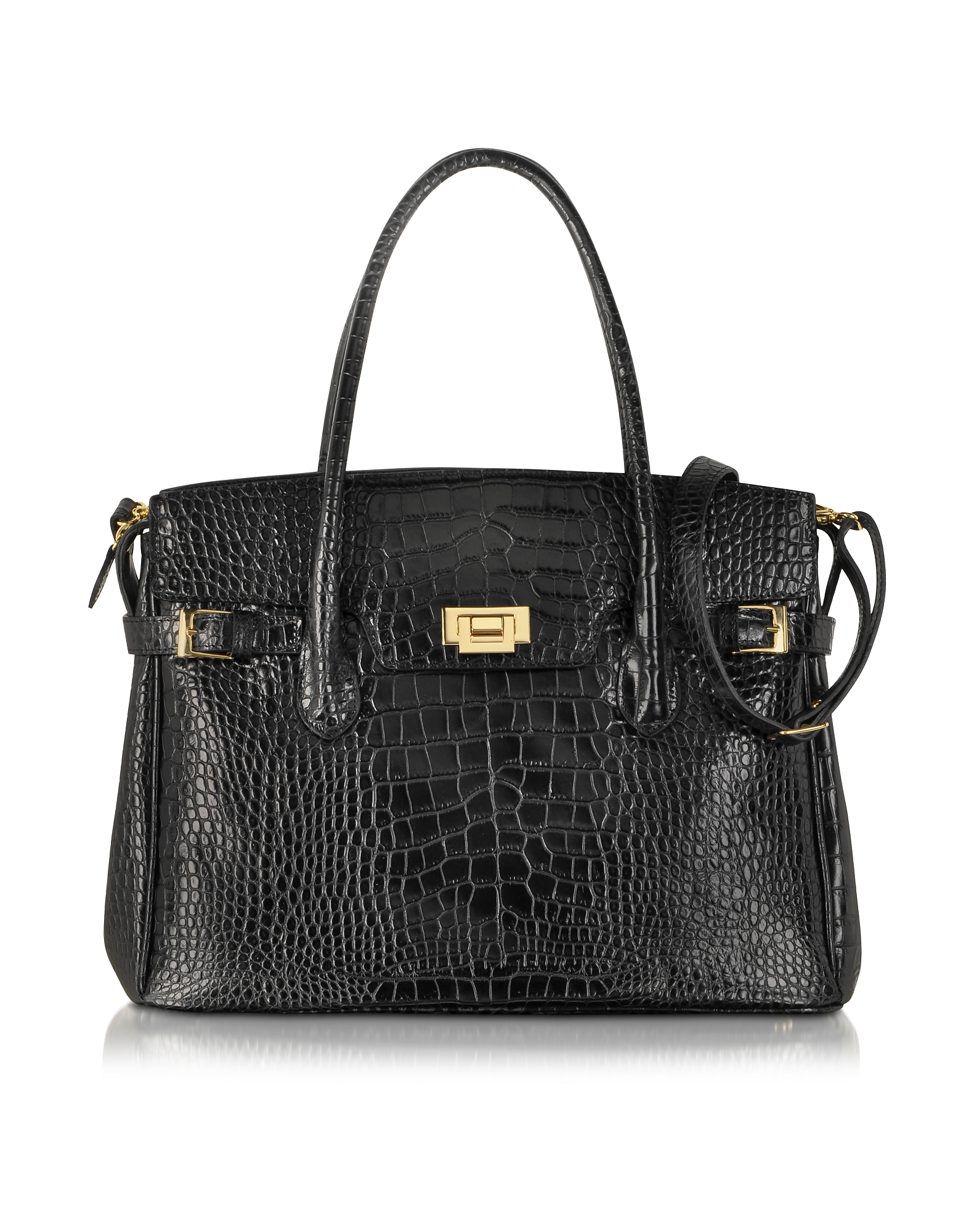 Fontanelli Handbags, Shiny Black Croco Embossed Leather Tote