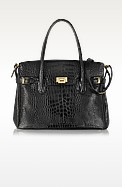 Shiny Black Croco Embossed Leather Tote - Fontanelli