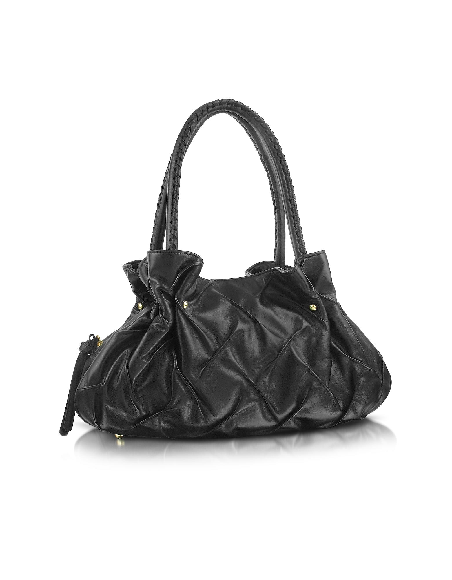 Pleated Nappa Leather Satchel Bag
