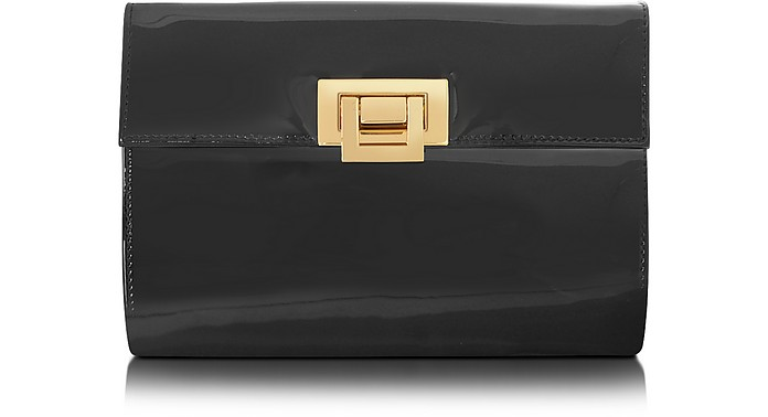 Black Patent Leather Clutch - Fontanelli