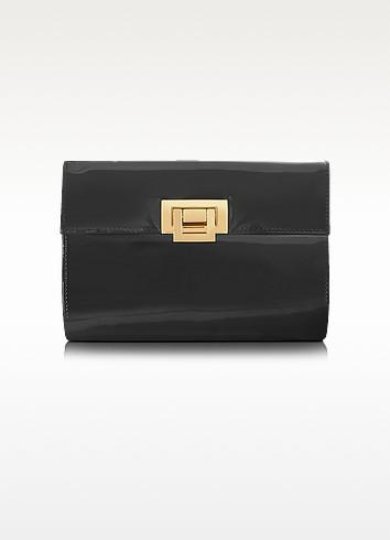 Black Patent Leather Clutch - Fontanelli