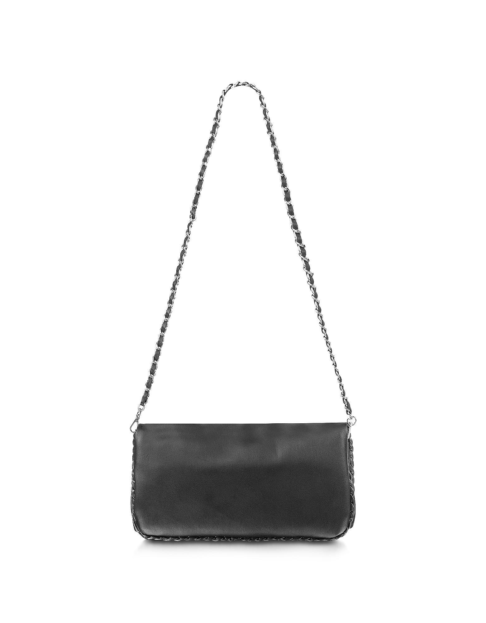 Fontanelli Handbags, Black Leather Baguette Bag