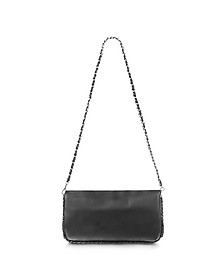 Black Leather Baguette Bag - Fontanelli
